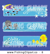 Clip Art of a Digital Set of Three Fish and Dolphin Swimming, Diving and Fishing Banners by Kaycee