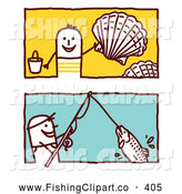 Clip Art of a Digital Set of Two Stick Men Collecting Shells and Fishing by NL Shop