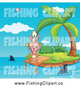 Clip Art of a Dog and Rabbit Fishing from an Island Dock with Sharks by Graphics RF