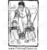 Clip Art of a Dutch Father and Children Going Fishing by Prawny Vintage