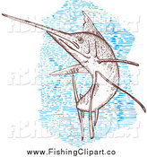 Clip Art of a Engraved Sailfish and Blue by Patrimonio