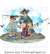 Clip Art of a Family of Four Fishing Together on an Island on a Spring Day by Djart