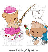 Clip Art of a Female Teddy Bear Reeling in a Boy with a Rose by BNP Design Studio