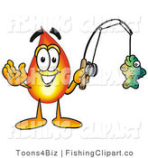 Clip Art of a Fire Mascot Cartoon Character Holding a Fish on a Fishing Pole by Toons4Biz