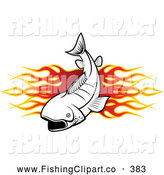 Clip Art of a Fish and Flames Fishing Banner by Vector Tradition SM