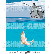 Clip Art of a Fish Biting a Lure Under a Fishers Boat by Patrimonio
