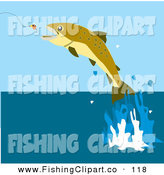 Clip Art of a Fish Leaping to Bite a Lure in a Lake by Dennis Holmes Designs