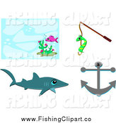 Clip Art of a Fish Shark Worm on a Fishing Hook and Anchor by Bpearth