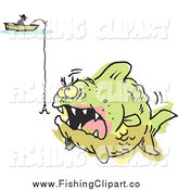 Clip Art of a Fisherman and a Hook over an Aggressive Monster Fish Colored Outside of the Lines by Johnny Sajem