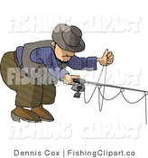 Clip Art of a Fisherman Bending over by Djart