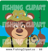 Clip Art of a Fisherman Brown Bear Character by Dennis Holmes Designs