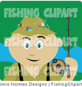 Clip Art of a Fisherman by Dennis Holmes Designs