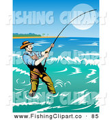 Clip Art of a Fisherman Casting His Line in the Coastal Surf for a Big Fish by Patrimonio