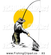 Clip Art of a Fisherman Pulling a Fish in with a Net on White by Patrimonio