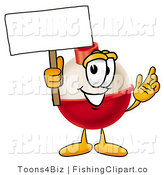 Clip Art of a Fishing Bobber Mascot Cartoon Character Holding a Blank White Sign by Toons4Biz