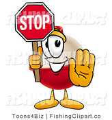 Clip Art of a Fishing Bobber Mascot Cartoon Character Holding a Stop Sign and His Hand by Toons4Biz
