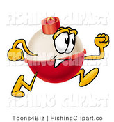 Clip Art of a Fishing Bobber Mascot Cartoon Character Running to the Right by Toons4Biz