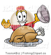 Clip Art of a Fishing Bobber Mascot Cartoon Character Serving a Thanksgiving Turkey on a Silver Platter by Toons4Biz