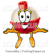 Clip Art of a Fishing Bobber Mascot Cartoon Character Sitting and Smiling by Toons4Biz