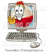 Clip Art of a Fishing Bobber Mascot Cartoon Character Waving from Inside a Computer Monitor by Toons4Biz