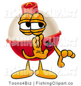 Clip Art of a Fishing Bobber Mascot Cartoon Character Whispering and Gossiping to a Friend by Toons4Biz
