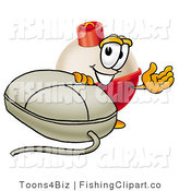 Clip Art of a Fishing Bobber Mascot Cartoon Character with a White Computer Mouse by Toons4Biz