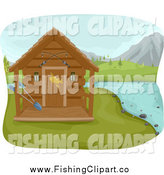 Clip Art of a Fishing Cabin on a Lake with Mountains in the Distance by BNP Design Studio