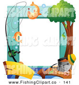 Clip Art of a Fishing Dock Frame on White by BNP Design Studio