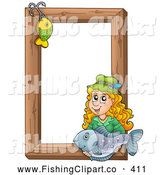 Clip Art of a Fishing Hook and Friendly Woman Holding a Fish over a Wooden Frame by Visekart