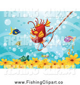 Clip Art of a Fishing Net Behind Fish with Flowers by Colematt