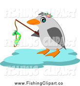 Clip Art of a Fishing Penguin by Bpearth