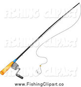Clip Art of a Fishing Pole and String by Graphics RF