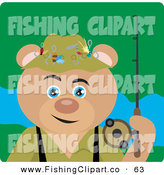 Clip Art of a Fishing Tan Teddy Bear Character by Dennis Holmes Designs