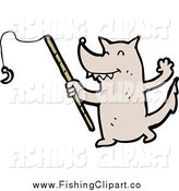 Clip Art of a Fishing Wolf with a Pole by Lineartestpilot
