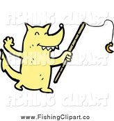 Clip Art of a Fishing Yellow Wolf or Dog by Lineartestpilot