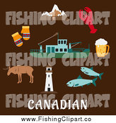 Clip Art of a Flat Design of the Canadian Rocky Mountains, Lighthouse, Elk, Mittens, Beer Tankard, Lobster, Fish and Fishing Trawler over Brown by Seamartini Graphics