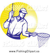 Clip Art of a Fly Fisherman Holding out a Fishing Net over Sunshine by Patrimonio