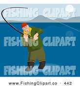 Clip Art of a Fly Fisherman Wading in Shallow Water and Casting His Line by Patrimonio