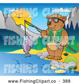 Clip Art of a Friendly Bear Camper Fishing in the Woods by Visekart