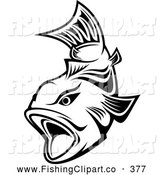 Clip Art of a Friendly Black and White Trout Swimming with Mouth Open by Vector Tradition SM