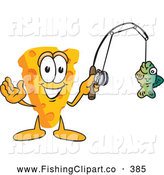 Clip Art of a Friendly Cheese Mascot Fishing by Toons4Biz