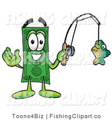 Clip Art of a Friendly Dollar Bill Mascot Cartoon Character Holding a Fish on a Fishing Pole by Toons4Biz