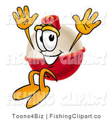 Clip Art of a Friendly Fishing Bobber Mascot Cartoon Character Jumping by Toons4Biz