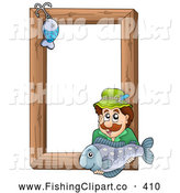 Clip Art of a Friendly Fishing Hook and Man Holding a Fish over a Wooden Frame by Visekart
