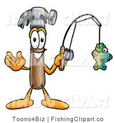 Clip Art of a Friendly Hammer Mascot Cartoon Character Holding a Fish on a Fishing Pole by Toons4Biz