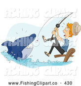 Clip Art of a Friendly Man Reeling in a Scary Shark While Fishing by BNP Design Studio