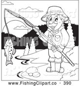 Clip Art of a Friendly Outlined Man Fishing at a Lake by Visekart