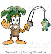 Clip Art of a Friendly Palm Tree Mascot Cartoon Character Holding a Fish on a Fishing Pole by Toons4Biz