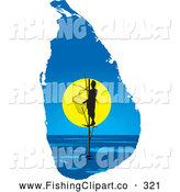 Clip Art of a Friendly Pole Fisherman on a Sri Lanka Map by Lal Perera