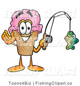 Clip Art of a Friendly Strawberry Ice Cream Cone Mascot Cartoon Character Holding a Fish on a Fishing Pole by Toons4Biz